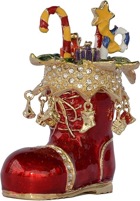 Amazon Com Jiaheyou Red Santa S Boot And Presents Trinket Box Christmas Stocking Enamelled Jewelry Box X Mas Gifts Home Kitchen