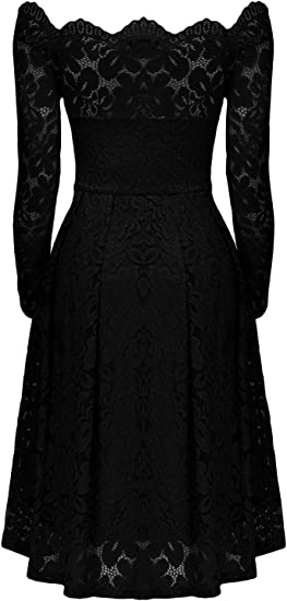 Women's Vintage Floral Lace Semi Casual Dress