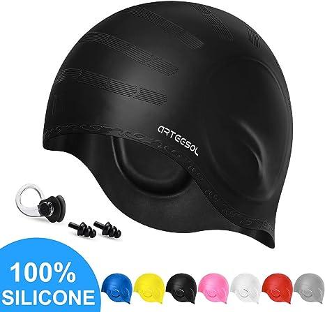 SWIM ELITE Premium Silicone Swimming Cap with Ergonomic Ear Pockets