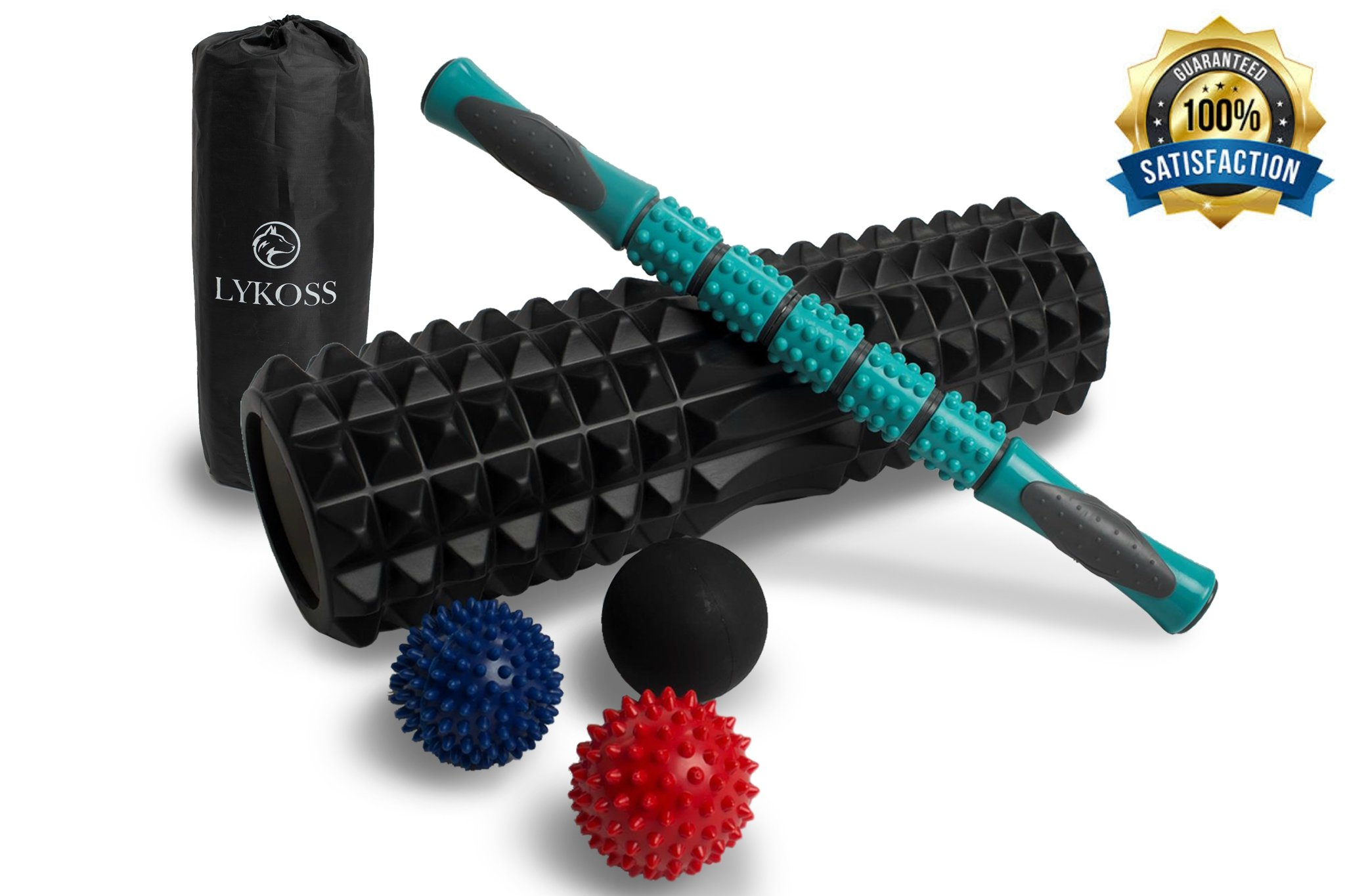 Lykoss 7-In-1 18'' X-Large High Density Foam Roller Kit, Long Muscle Roller Stick, 3 Type Massage Balls, XL Bag by Set For Trigger Point, Yoga Myofascial Release, Deep Tissue, Back Physical Therapy
