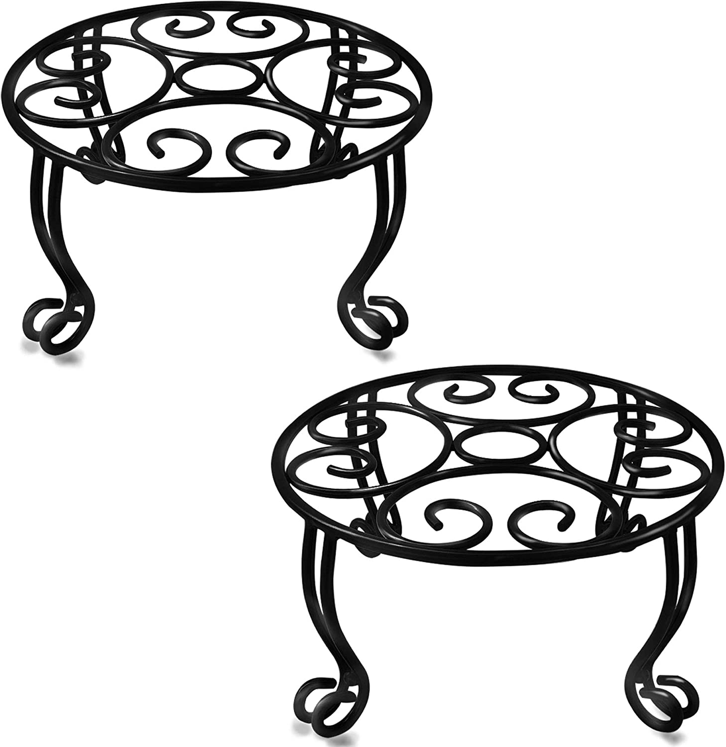 TREEZITEK 2 Pack Plant Stand for Flower Pot 6IN Height Heavy Duty Potted Holder Indoor Outdoor Metal Rustproof Iron Garden Container Round Supports Rack for Planter