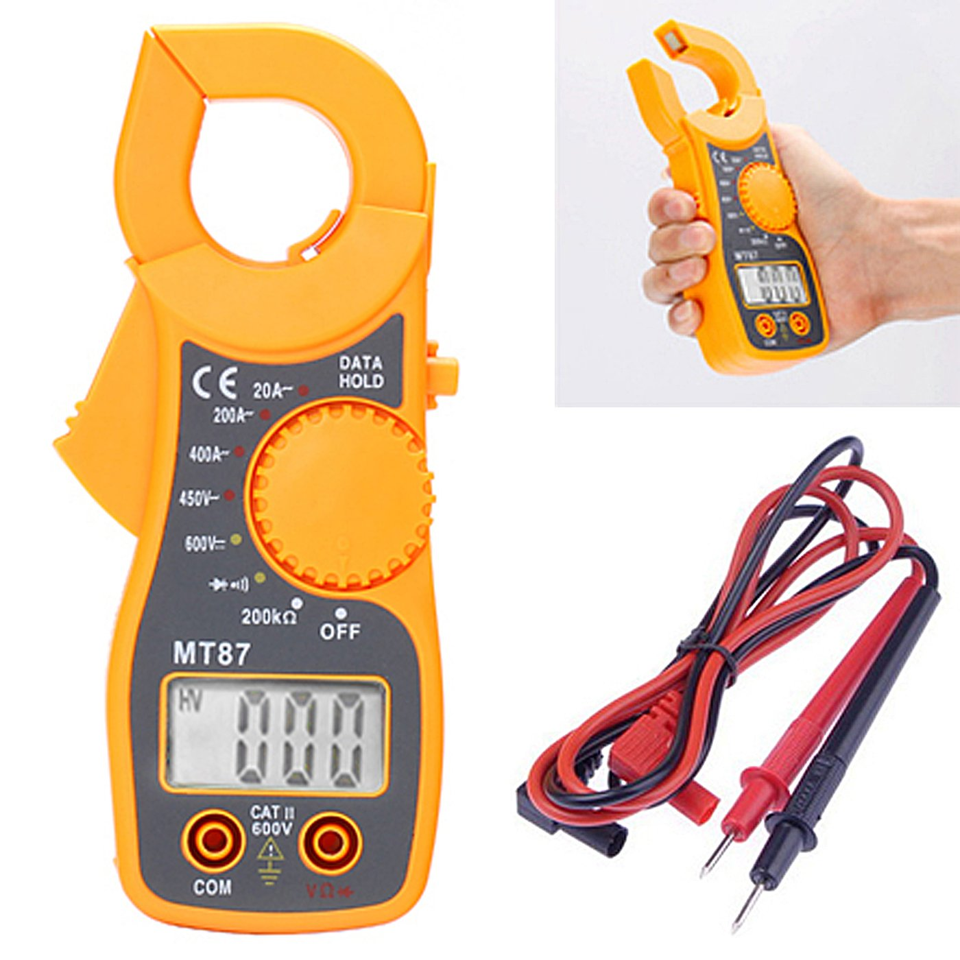 HDE Portable AC/DC Digital Voltage Multimeter Tester Electronic Clamp OHM Amp Meter LCD Display HDE-E51-NEW