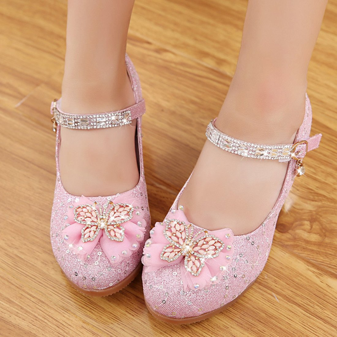 Toddler Littlle Big Kids Girls Glitter Wedding Shoes Dancing Party Mary Jane Flat Shoes Pink Size 2 by YANGXING (Image #6)