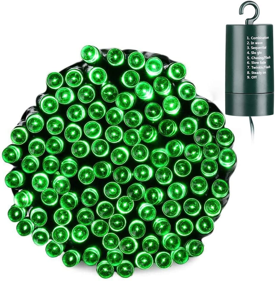 Joomer Battery Christmas Lights, 66ft 200 LED Battery Operated String Lights Waterproof 8 Modes & Auto Timer for Christmas Trees, Home, Garden, Party and Holiday Decoration (Green)