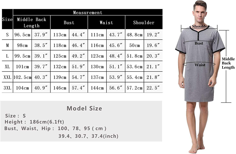 Sykooria Camisa de Dormir para Hombre Pijama Top Camis/ón de Algod/ón Ligero Suave Camis/ón de Manga Corta Ropa de Dormir