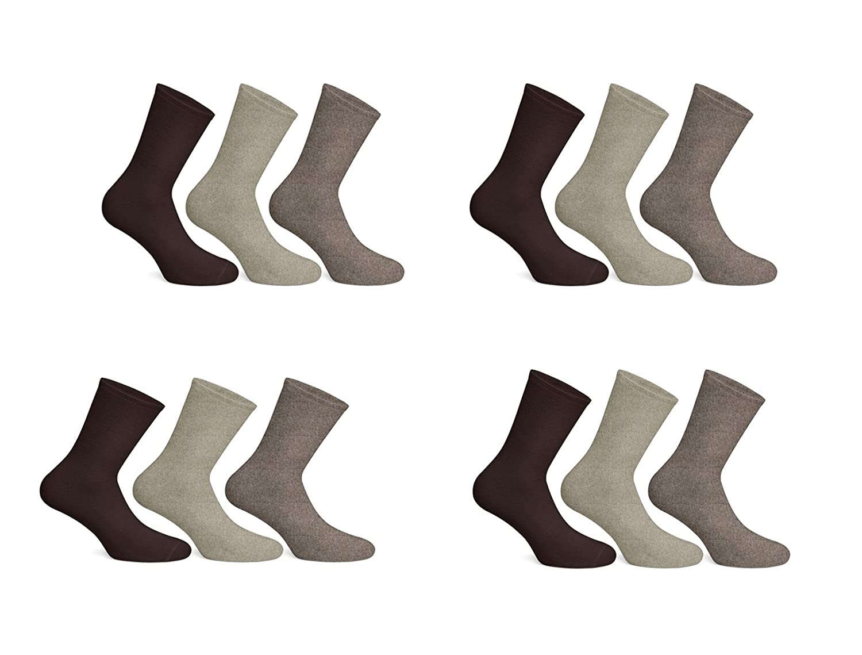 12 Pairs Mens Cotton Diabetic Soft Top Non Elastic Wide Top Socks UK 6-11