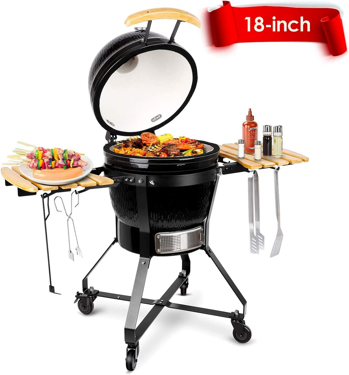 TUSY 18-inch Advanced Ceramic Charcoal Grill:A classic oven integrated ceramic Kamado grill