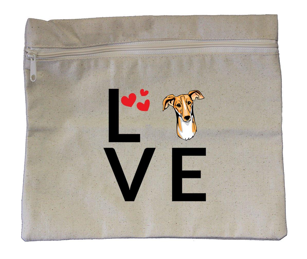Canvas Zipper Pouch Bag 10''X12'' Love Hearts Polish Greyhound Dog Style In Print