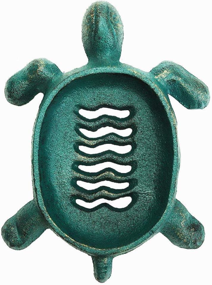 Sungmor - Jabonera de Hierro Fundido drenable con Color Verde Antiguo - Bandeja de Ducha para baño, Cocina, Lavabo, jabonera Decorativa y Funcional para Patio, Villa Granja