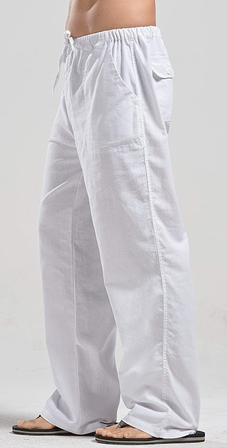 Mens Linen Casual Loose Fit Straight-Legs Stretchy Waist Beach Pants
