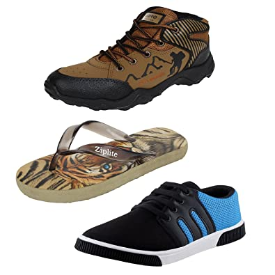 83059b79d Earton Men Combo Pack of 4 Sneakers Casual Shoes with Flip-Flops (6 ...