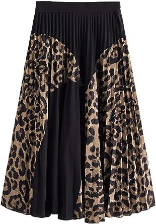Shein maxi falda de cintura alta con estampado de leopardo en ...