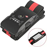 TSA Luggage Strap Topoint® Suitcase Trolley Belt with 3 Dial TSA Approved Lock for Airport Security and Baggage Claim Identification (Red/Black)