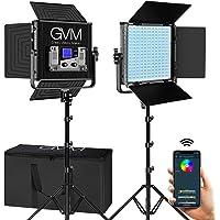 2-Pack GVM Great Video Maker 50RS RGB 3200K-5600K CRI 97+ Dimmable Bi-Color/Full Color LED Video Panel Lighting Kit with Barn Doors for YouTube Studio