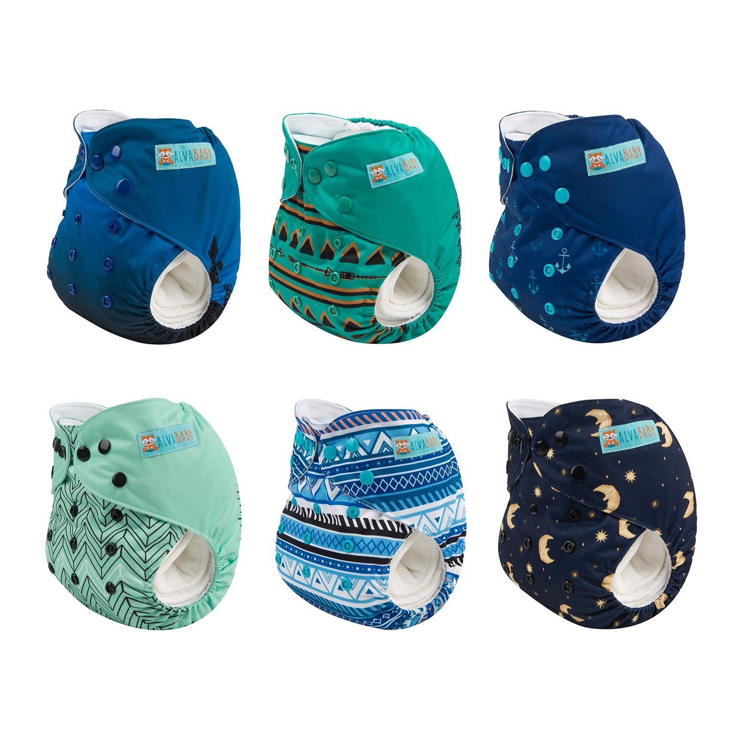 ALVABABY Color Snaps Baby Cloth Diapers/Adjustable Washable Reusable/6 Pack with 12 pcs 5-Layer Charcoal Bamboo Inserts 6CM64-ZTN by ALVA (Image #4)