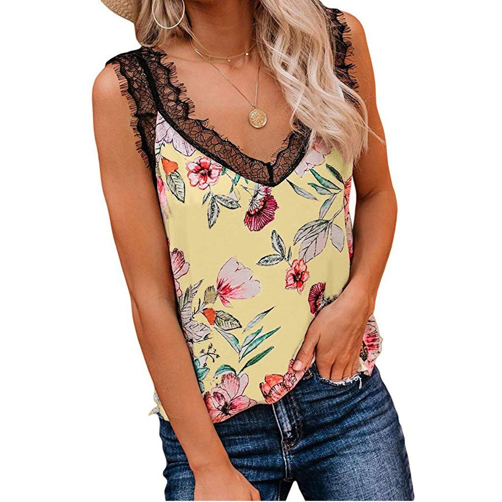 WOCACHI Womens Camis Lace Up Snake Grain Floral Sleeveless Vest Tank Tops Tee