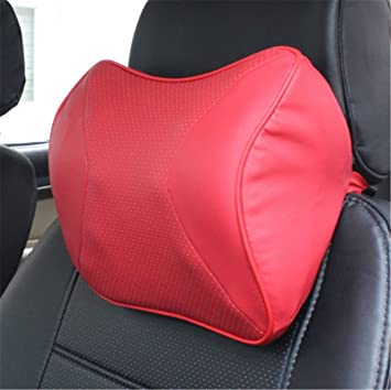 Red Car Seat Headrest Pad Memory Foam Pillow Head Neck Rest Support Cushion