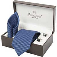 Kanthlangot Men's Jacquard Combo of Tie, Pocket Square and Cufflinks Set (Multicolour, Free Size)