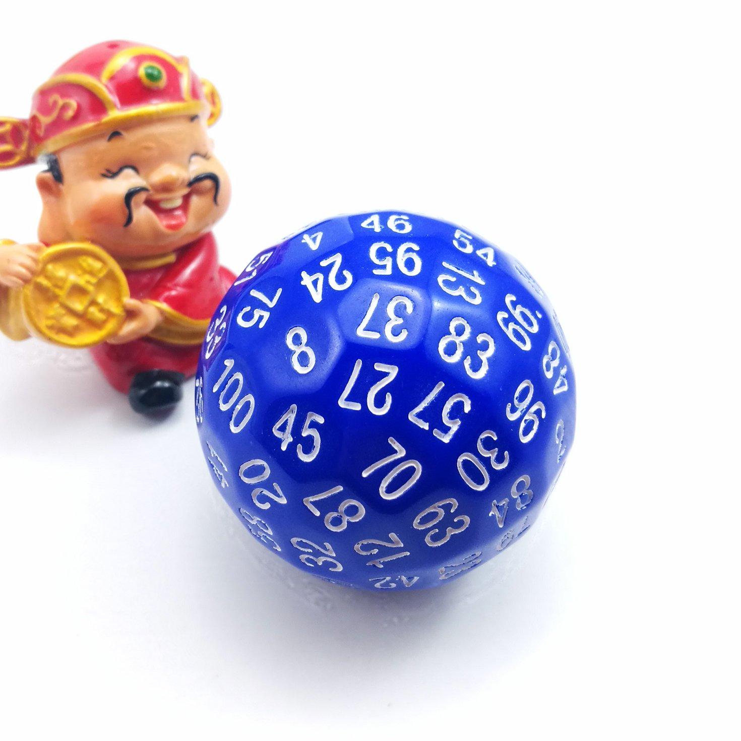 Bescon Polyédrique dés 100Faces dés, D100Die, 100Face Cube, D100Jeu dés, 100-sided Cube de couleur bleue Bescon Dice BCD24003