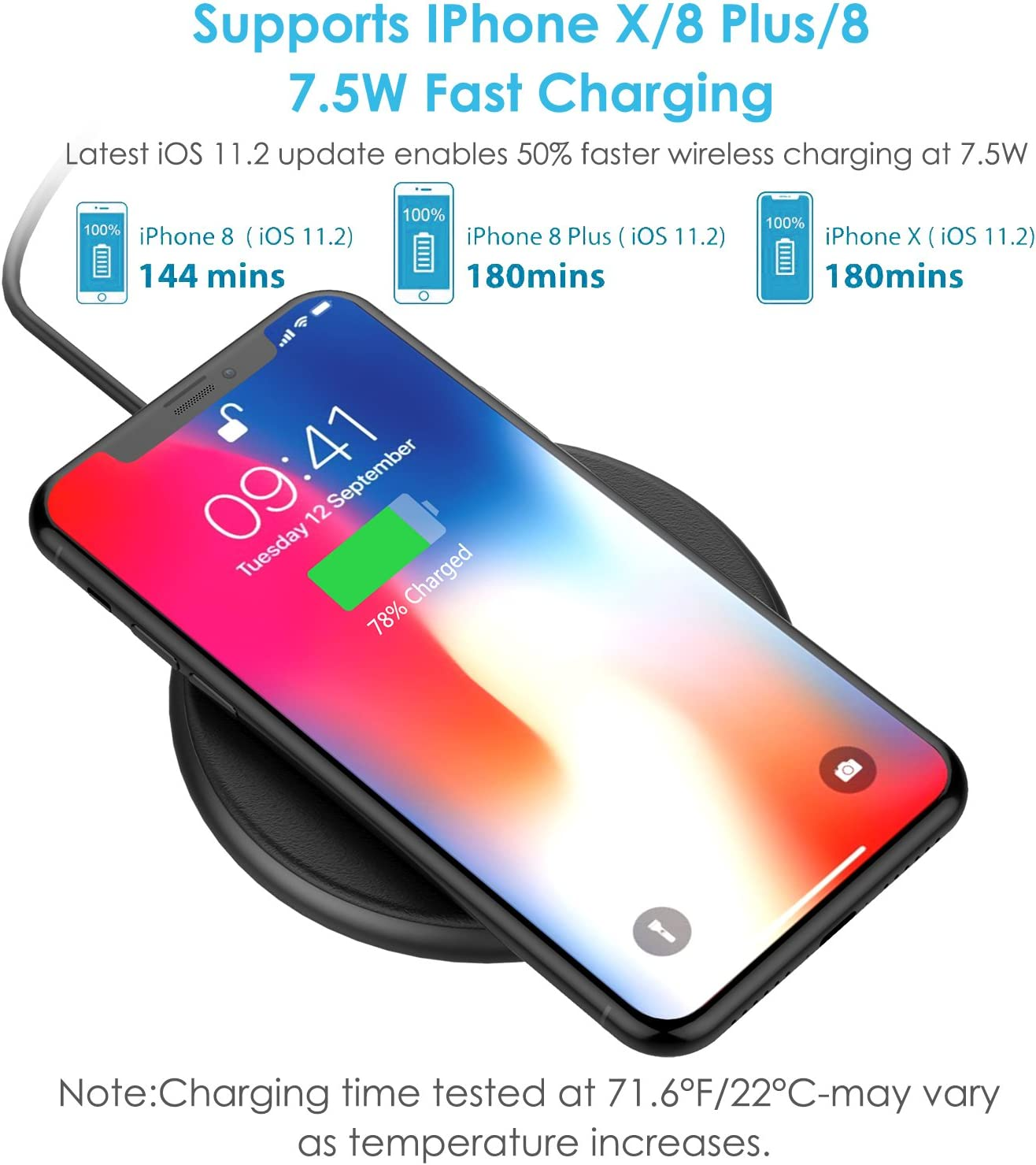 Note 8 and Power All Qi-Enabled Phones S8 Plus Wireless Charger HBUDS H12 Wireless Fast Charging Pad for iPhone X S7 8//8 Plus 10W Fast Wireless Charging for Samsung Galaxy S8