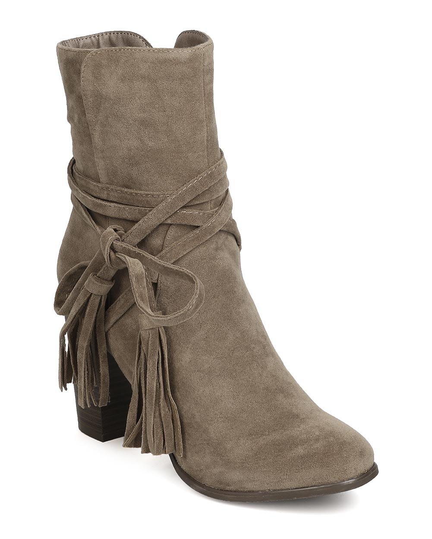 Breckelle's GA27 Women Faux Suede Wraparound Tassel Chunky Heel Bootie - Beige (Size: 7.0) by Breckelle's (Image #1)