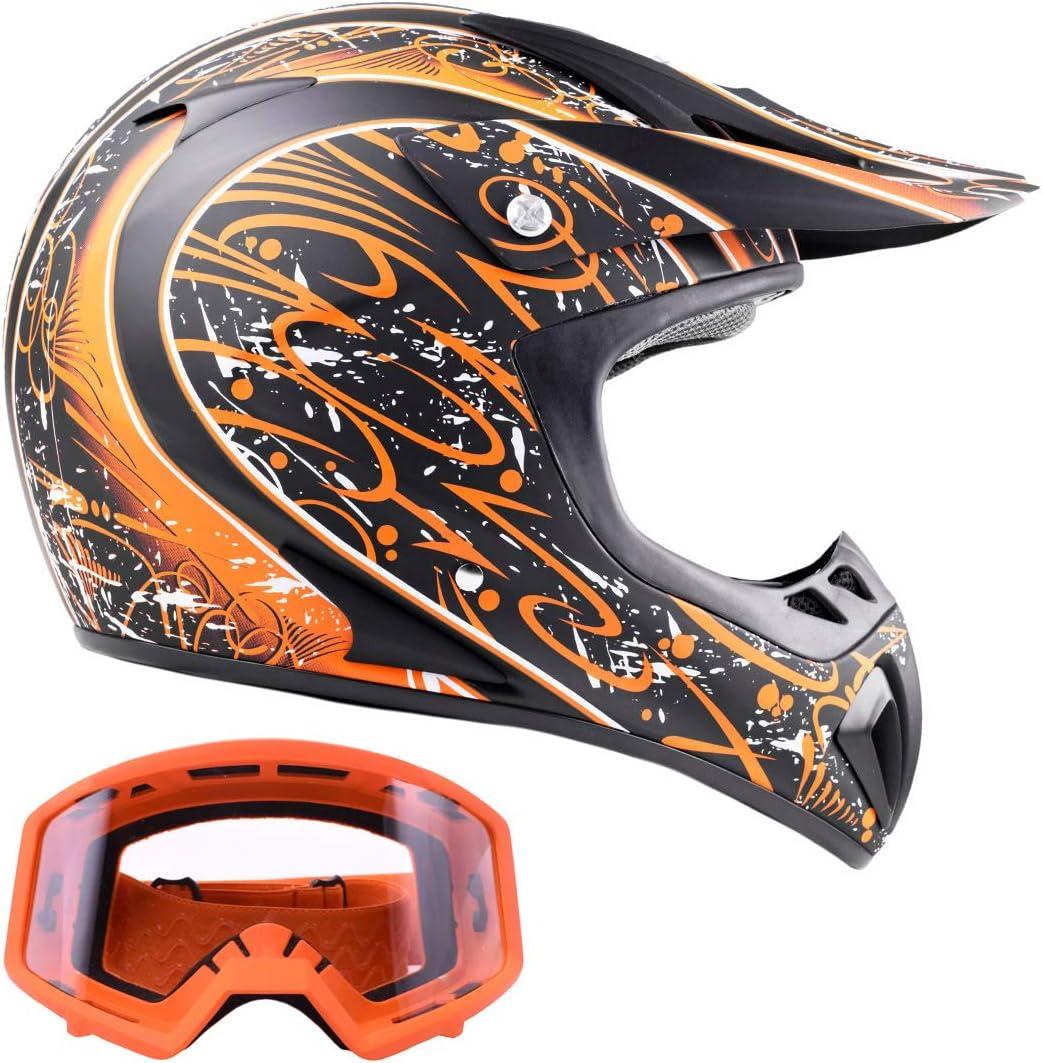 Large Matte Orange w//Black Typhoon Adult ATV Helmet /& Goggles Gear Combo