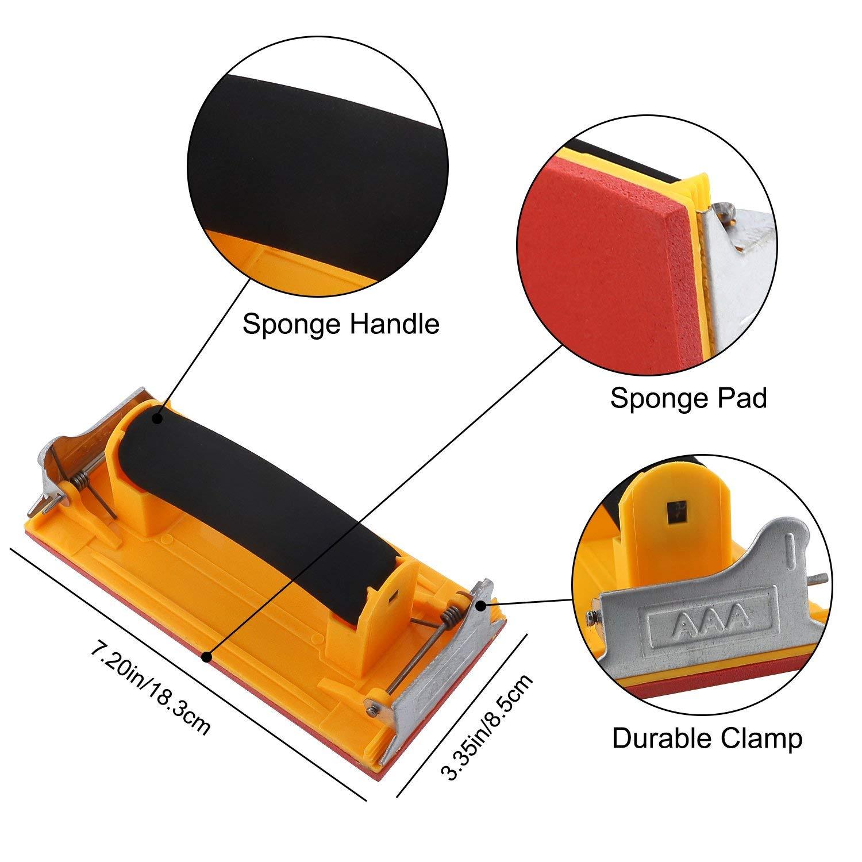 Ughill Schleifpapierhalter,Handschleifer mit Schwammgriff,Wandschleifen aus Metall//Holz,Passform 9 x 3,6 Zoll Schleifpapier