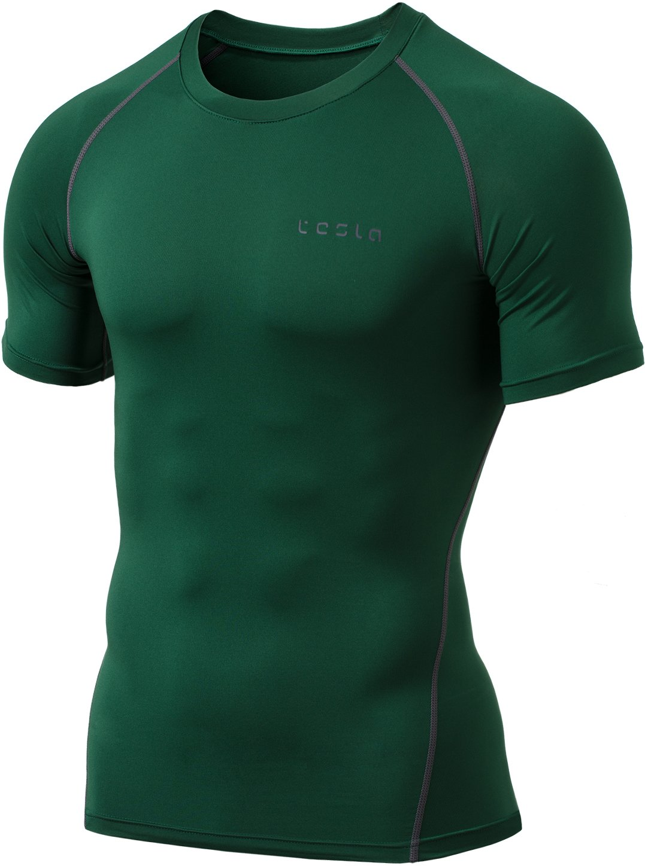 Tesla Mens Short Sleeve T-Shirt Cool Dry Compression Baselayer MUB73/MUB03/R13/R14 Tesla Gears US17091_TMR13_PR