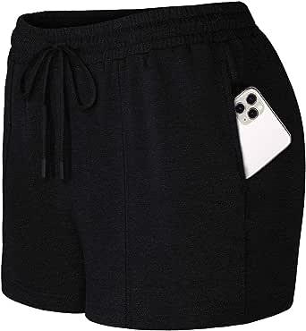 SeSe Code Womens Workout Running Shorts Drawstring Elastic Waistband Lounge Shorts with Pockets