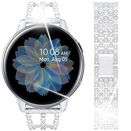 Goton Compatible Samsung Galaxy Watch Active 2 Band, Women Hollow Bling Chain Crystal Diamond Strap 20mm Compatible for Galaxy Watch 42mm, Active ...