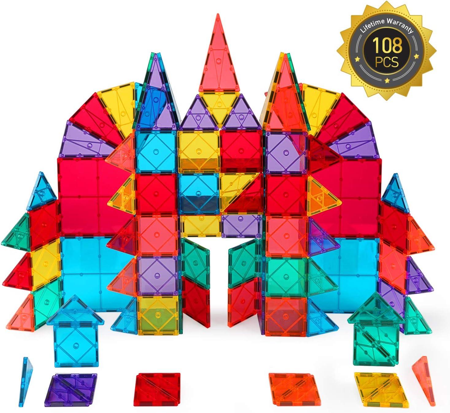Educational STEM Toys for Boys Girls Upgraded-68 pcs Dopobo Magnetic Tiles Magnet Building Tiles : Clear 3D Magnetic Building Blocks Set for Kids Toddlers