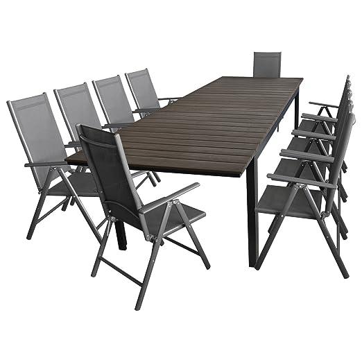 11 piezas. Jardín Set Aluminio polywood extensible mesa - muebles ...