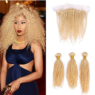 Ruma Hair Afro Kinky Curly Ear to Ear Lace Frontal Closure 13x4 With Bundles 4Pcs/Lot #613 Platinum Blonde Virgin Brazilian Human Hair Weaves With Free Part Full Frontals (16 with 16 16 16)