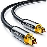 Cavo audio ottico digitale deleyCON - S/PDIF - 2x Toslink spina 1,5m - LWL cavo in fibra ottica - spina in metallo - 5mm - flessibile - Nero