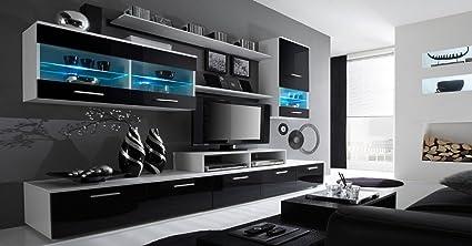 Home Innovation Mobile Soggiorno Parete Da Soggiorno Moderno Con Led Bianco Mate E Nero Laccato Dimensioni 250 X 194 X 42 Cm Di Profondita Amazon It Casa E Cucina