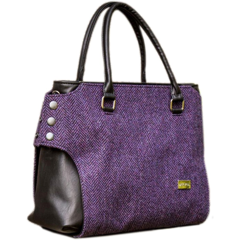 Ladies Tweed & Leather Bag, Made in Ireland, Purple