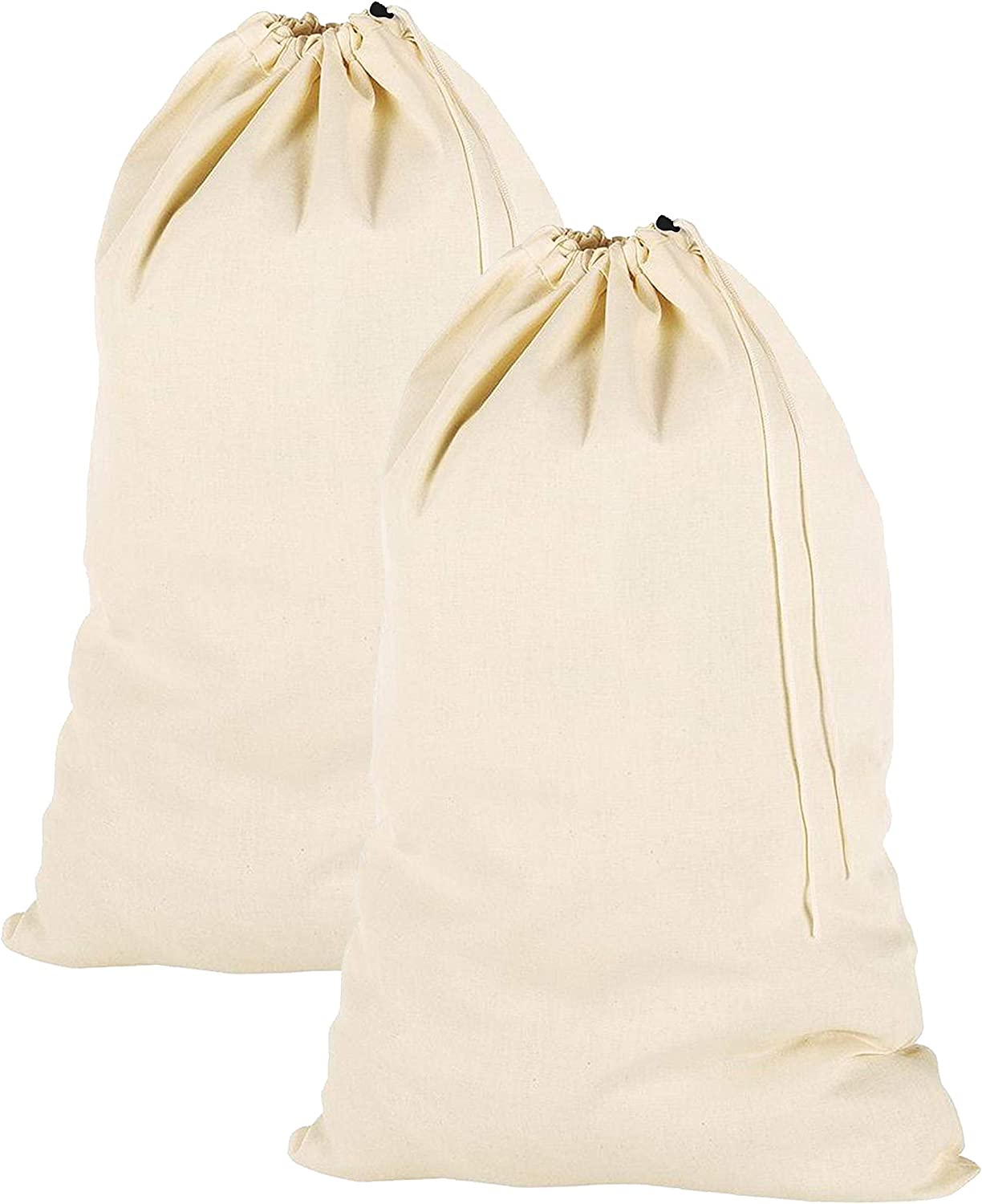 """2 Pack Extra Large 100/% Cotton Canvas Heavy Duty Laundry Bags Natural 28/""""x36/"""""""