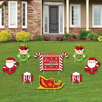 Jolly Santa Claus , Merry Christmas Yard Sign \u0026 Outdoor Lawn Decorations ,  Christmas Yard Signs , Set of 8