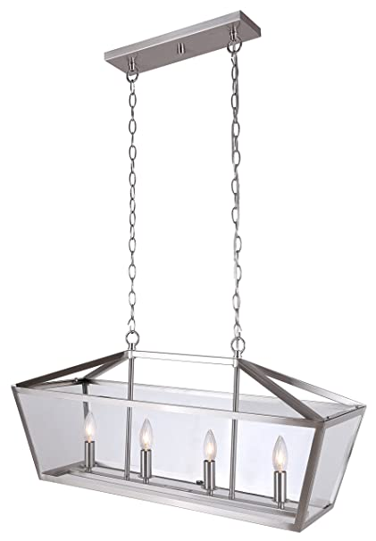 Amazon canarm kellen 4 light chain chandelier with clear glass canarm kellen 4 light chain chandelier with clear glass brushed nickel mozeypictures Gallery