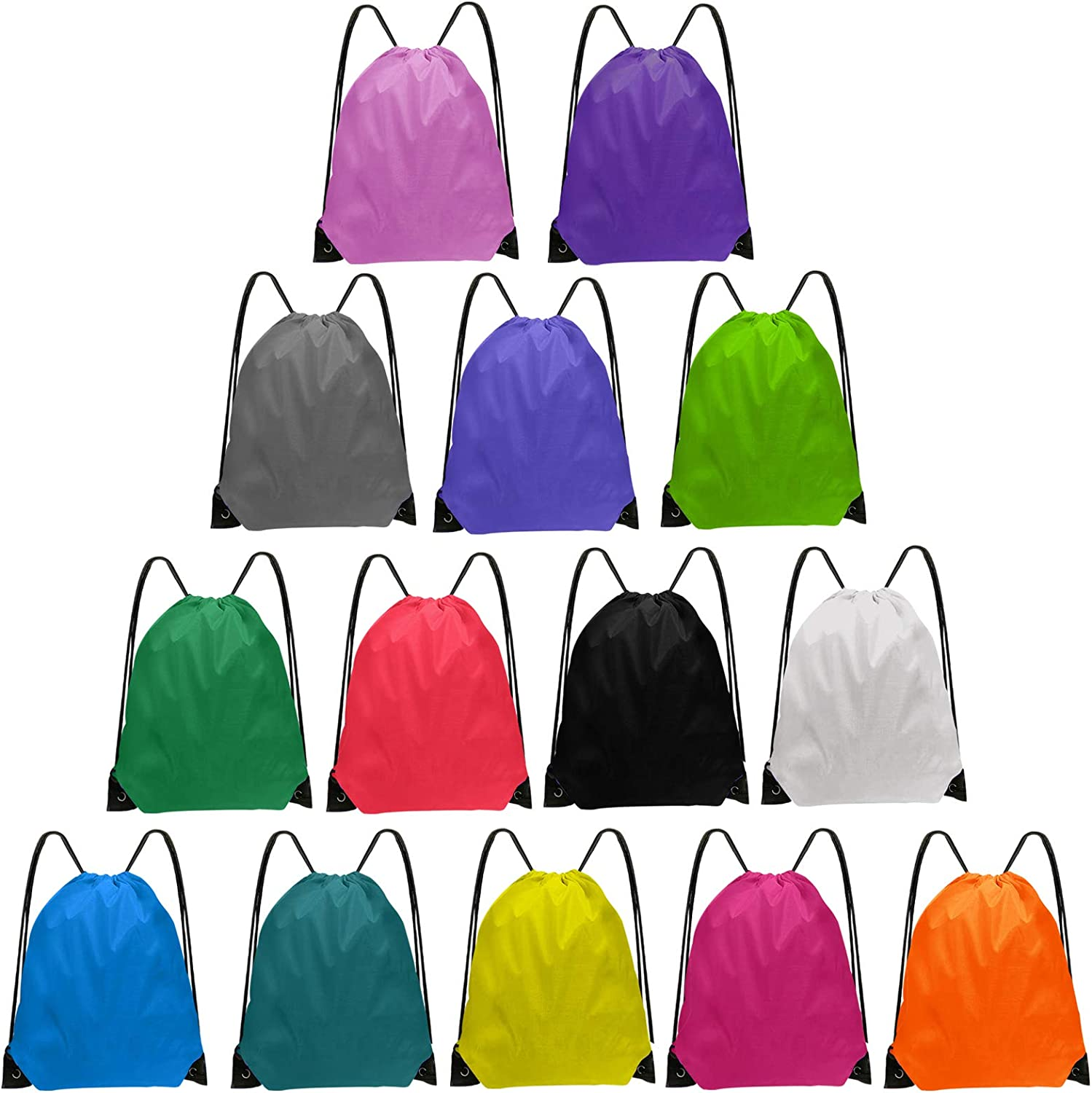 Pyramid of drawstring bags in different colors on white background
