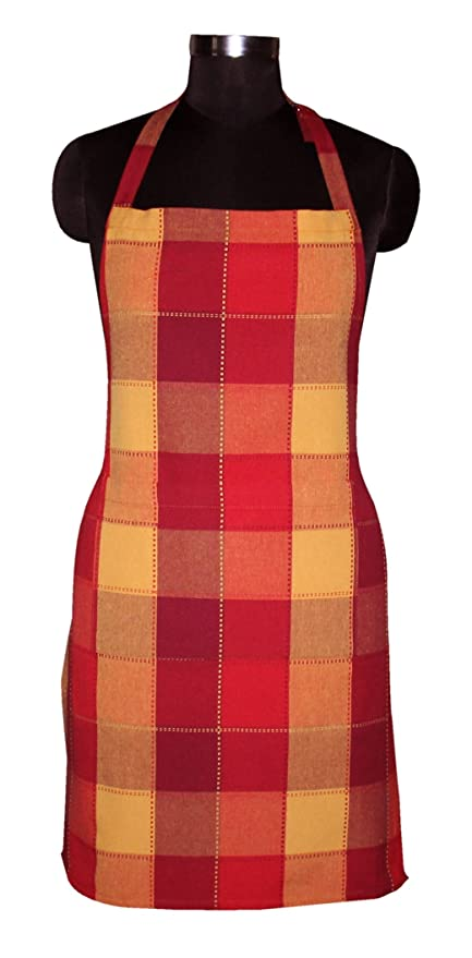 AIRWILL Cotton Yarn-Dyed Jacquard Dobby Checks Aprons Pack with 1 Center Pocket, Adjustable Buckle on Top and 2 Long Ties on Both Sides (65x80cm)