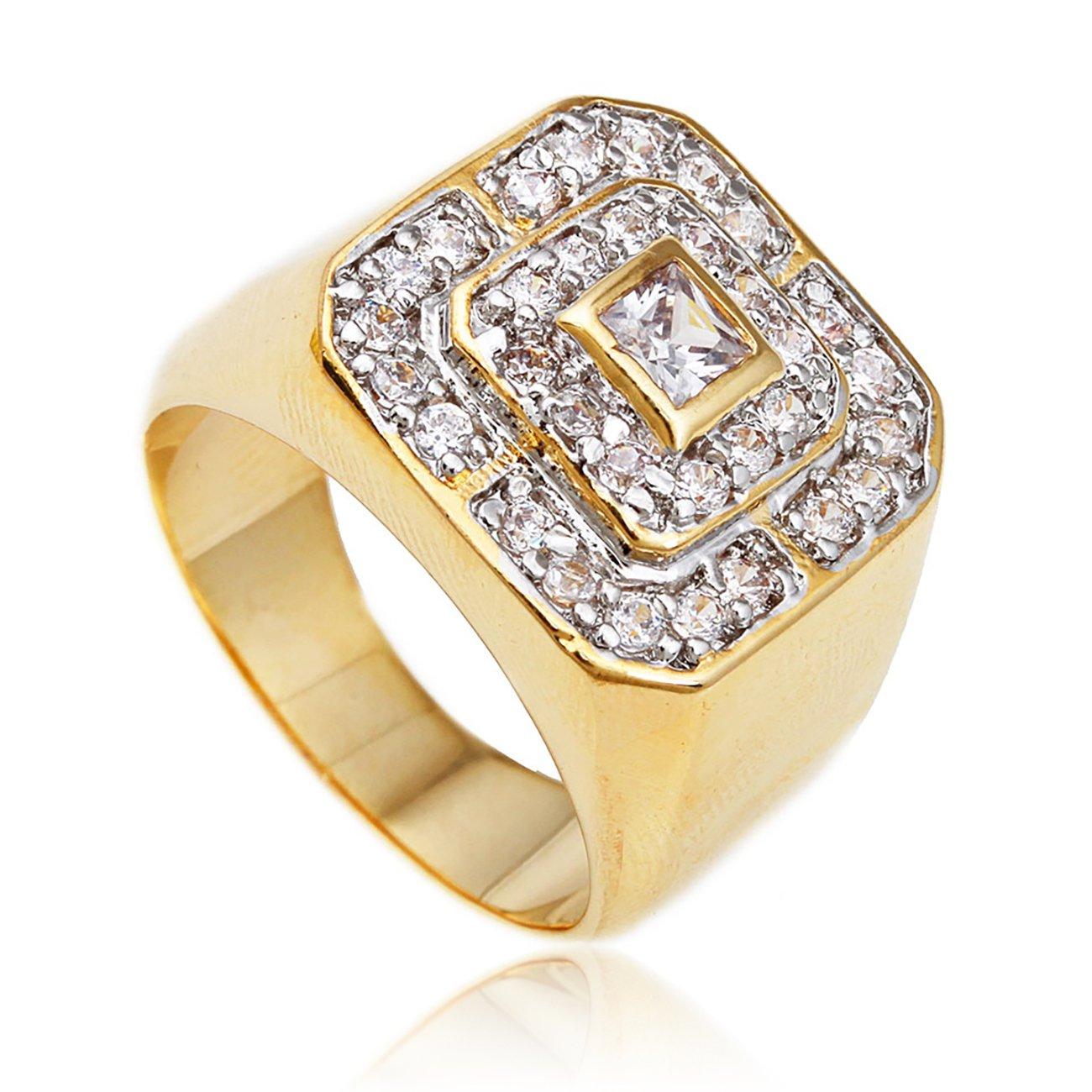 Men's Goldtone CZ Layered Squares Ring Sizes 7-17 (7) (D-922-7)