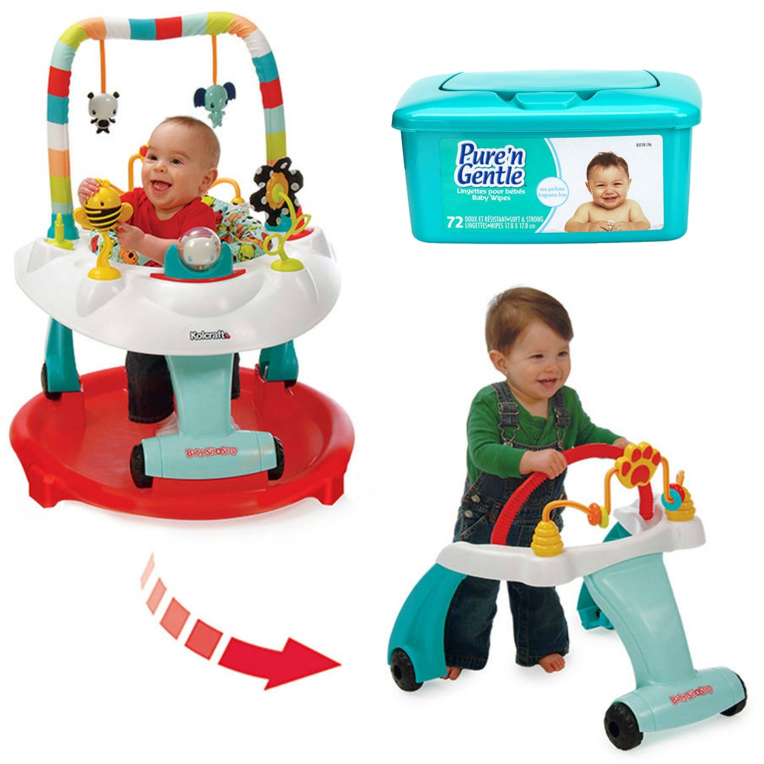 Kolcraft Baby Sit and Step 2-in-1 Baby Activity Center, Bear Hugs with Hypoallergenic Baby Wipes