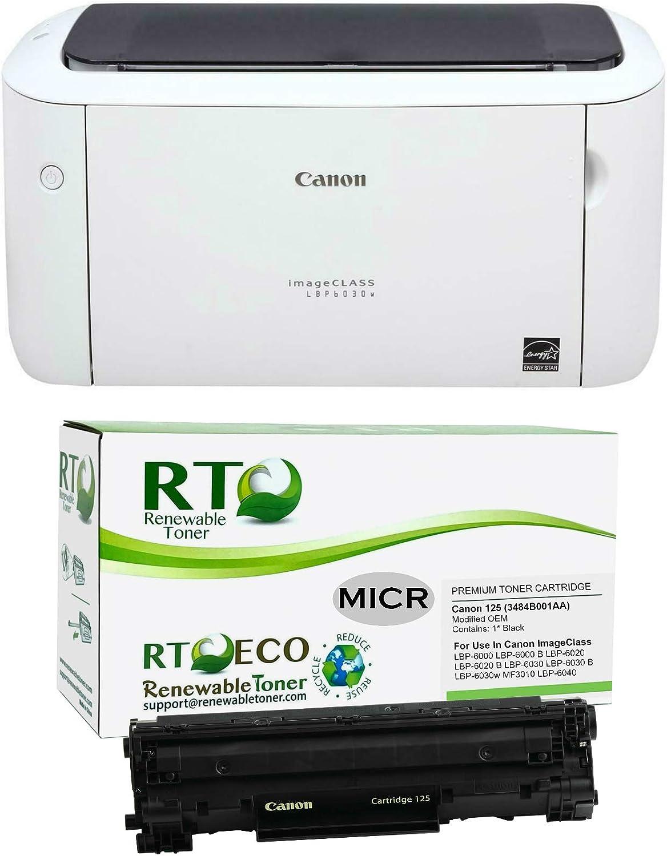 Renewable Toner ImageClass LBP6030W MICR Check Printer Bundle with 1 Canon 125 3484B001AA Modified OEM MICR Toner Cartridge (Pack of 2)