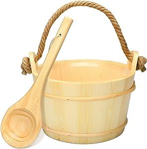 P&BEXC Wooden Sauna Bucket with Ladle and Plastic Liner,Rope Handle ,Sauna Accessories for Home Sauna & SPA --4.5 L=1.2 Gallon Sauna Water Bucket
