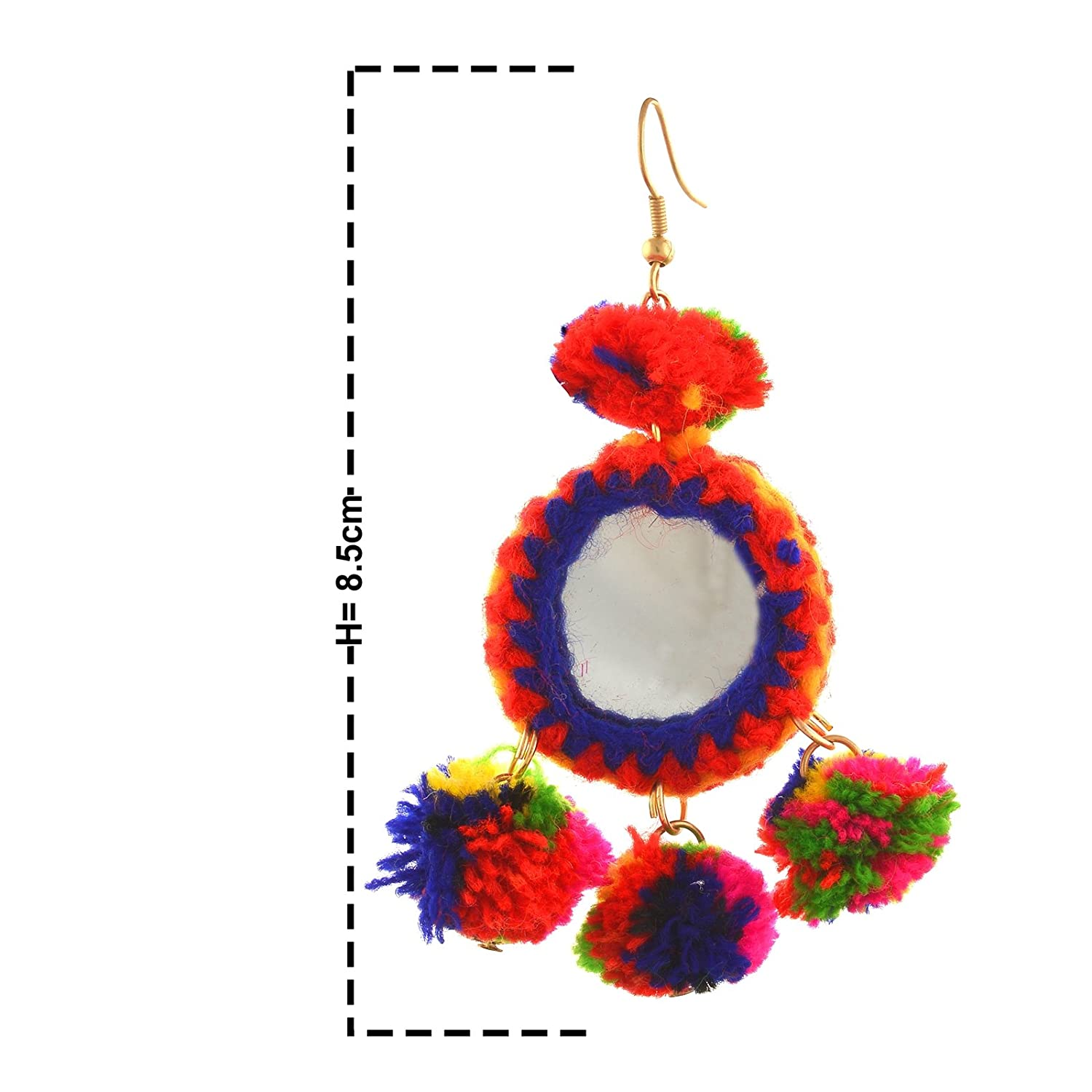 4129e188a Zephyrr Fashion Hook Dangle Funky Statement Earrings with Pompoms Mirrors  for Girls: Amazon.co.uk: Jewellery