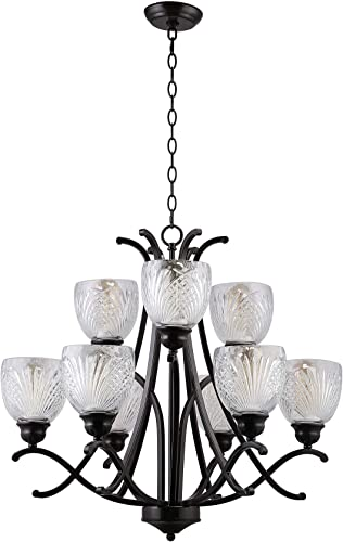 CO-Z 9 Light Oil Rubbed Bronze 2-Tier Chandelier with Clear Cross Grain Glass Shade, Modern 9 Lights Hanging Ceiling Light Fixure for Foyer, Kitchen, Dining Room, Living Room, Family Room