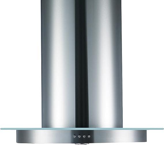Cookology-TUB900GL Campana extractora redonda y tubular de cristal y acero inoxidable para cocina en isla de 90 cm.: Amazon.es: Grandes electrodomésticos