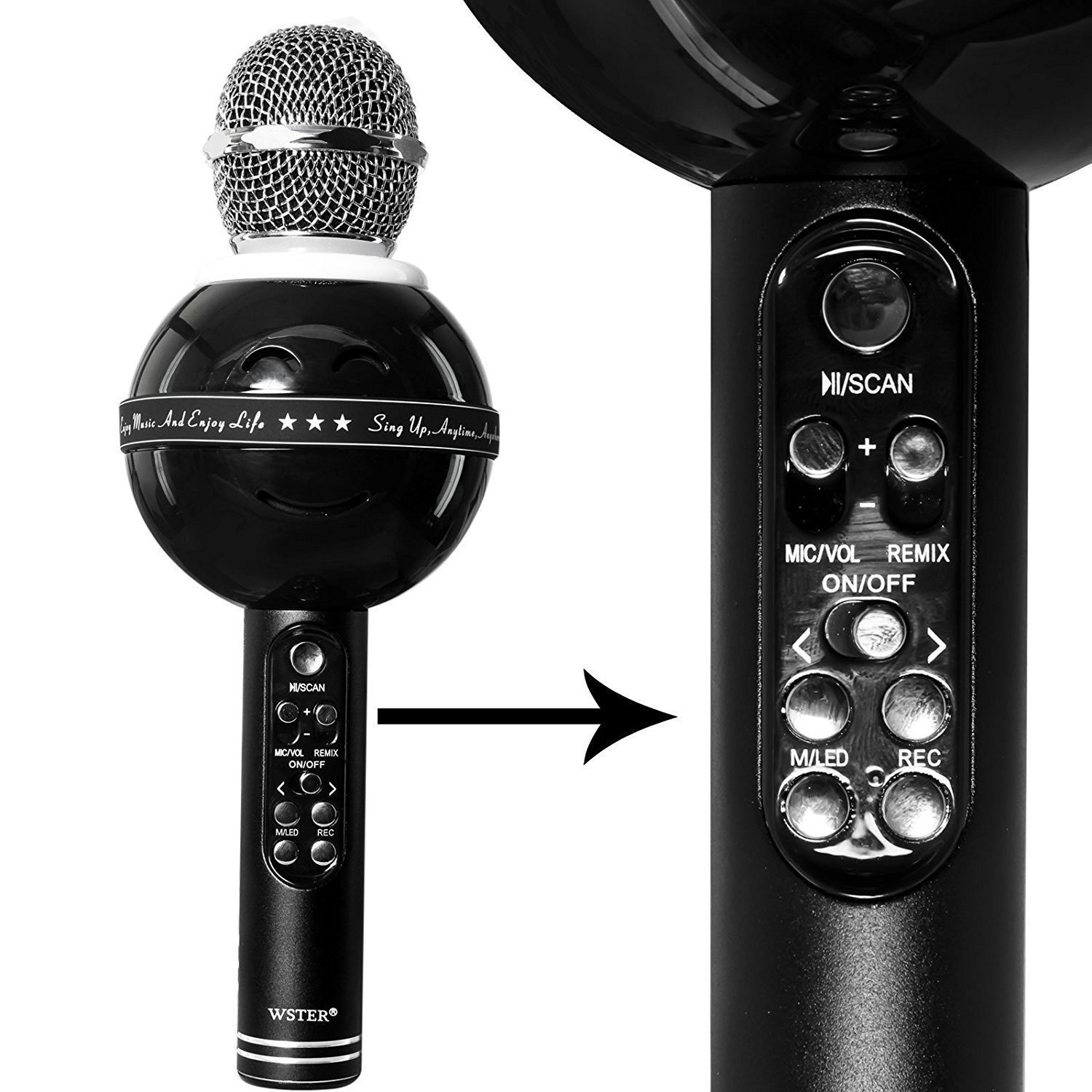 Kartik Wireless Bluetooth Ws 878 Karaoke Mic For Singing Recording Wster 858 Smule Condenser Handheld Portable Speaker With Lights Assorted Colour Musical