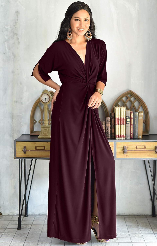 9d176328bda KOH KOH Womens Long Short Sleeve V-Neck Sexy Slimming Casual Summer Maxi  Dress at Amazon Women s Clothing store
